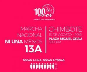 """El Centro Cultural Centenario de Chimbote se suma a la marcha denominada """"Ni una menos"""""""